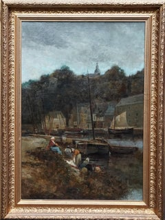 Washerwomen by River - American British 19thC figurative landscape oil painting