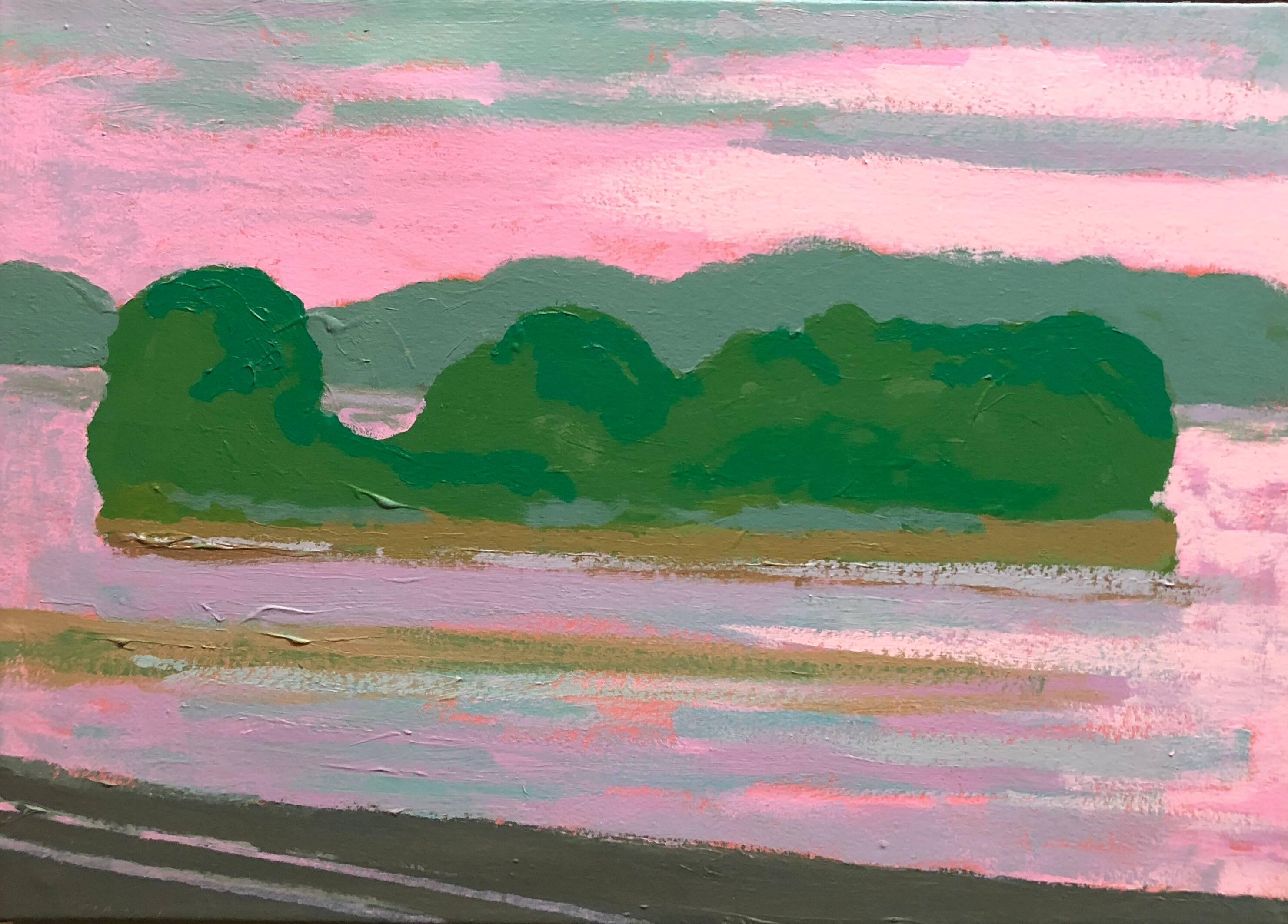 Hudson River Flats, Abstract Expressionist Landscape Oil Painting