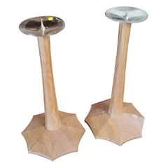Edward Barnsley, a Pair of Arts & Crafts Oak Candlesticks with Spider Web Bases
