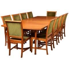 Edward Barnsley African Mahogany Dining Table and ten chairs, England circa 1956