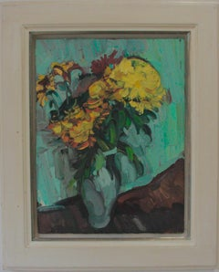 CHRYSANTHEMUMS IN A GREEN VASE EDWARD BEALE British contemporary artist.