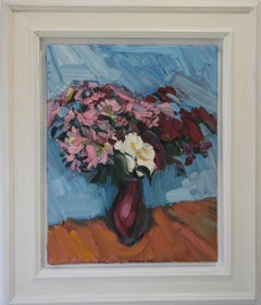 CRIMSON CHRYSANTHEMUMS  PALE BLUE .EDWARD BEALE contemporary British artist