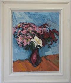 CRIMSON CHRYSANTHEMUMS  PALE BLUE .EDWARD BEALE contemporary British artist