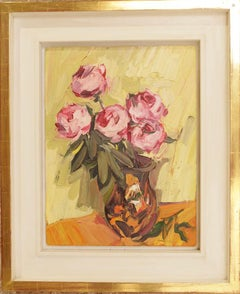 FIVE PEONIES IN VASE EDWARD BEALE Contemporary British Artist