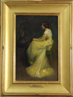 The Mirror, 19th Century Impressionist Female Portrait, Oil on Board, Framed