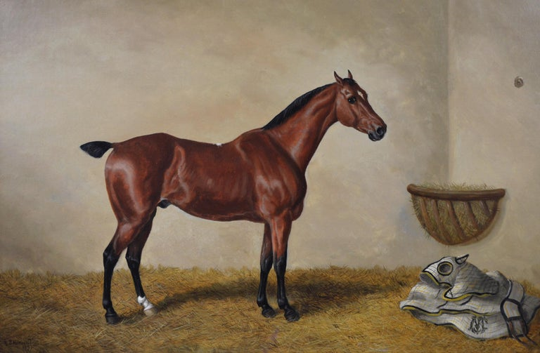 19th Century sporting horse portrait oil painting of a bay hunter  - Painting by Edward Benjamin Herberte