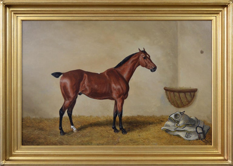 Edward Benjamin Herberte Animal Painting - 19th Century sporting horse portrait oil painting of a bay hunter
