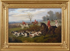 19th Century sporting oil painting of a hunt