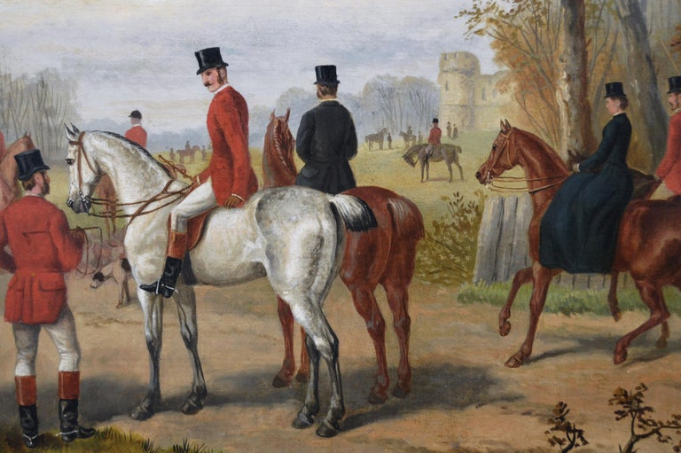 19th Century sporting oil painting of a hunting meet - Victorian Painting by Edward Benjamin Herberte