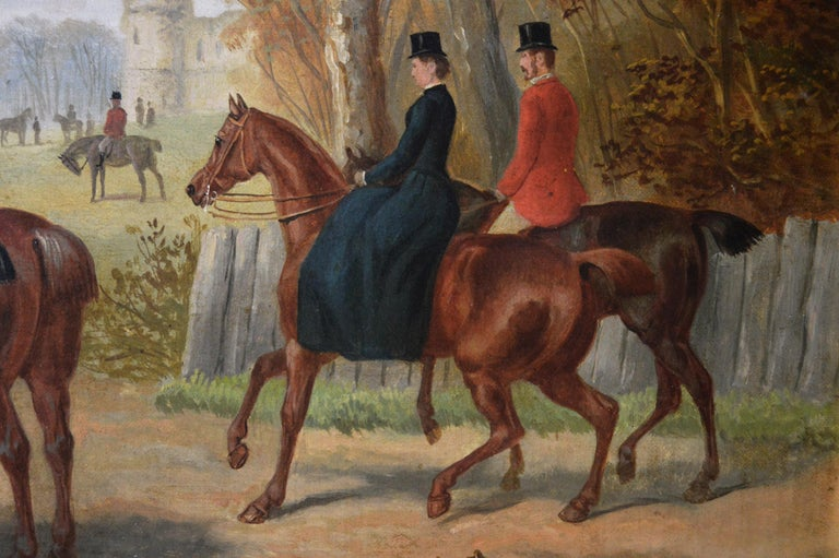 19th Century sporting oil painting of a hunting meet - Brown Landscape Painting by Edward Benjamin Herberte