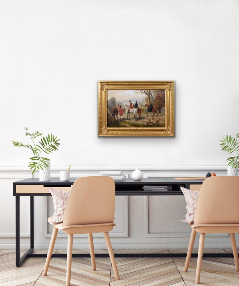 19th Century sporting oil painting of a hunting meet For Sale 3