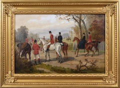 19th Century sporting oil painting of a hunting meet