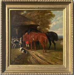 A Victorian English 19thC  Fox hunting, sporting scene with hounds and huntsman