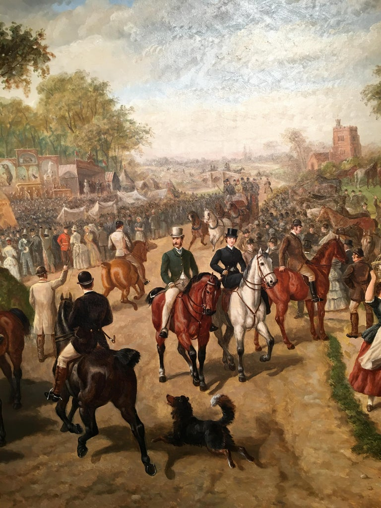 A Victorian English Horse fair with pub, circus and many figures - Painting by Edward Benjamin Herberte