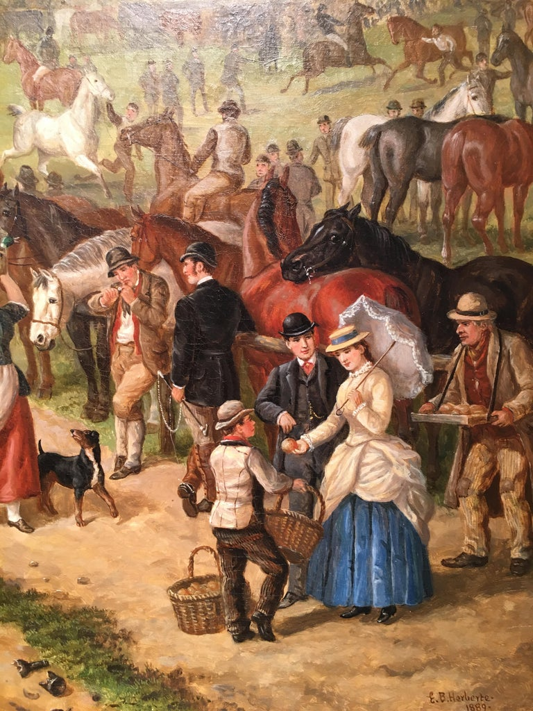 A Victorian English Horse fair with pub, circus and many figures - Brown Animal Painting by Edward Benjamin Herberte