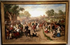 A Victorian English Horse fair with pub, circus and many figures