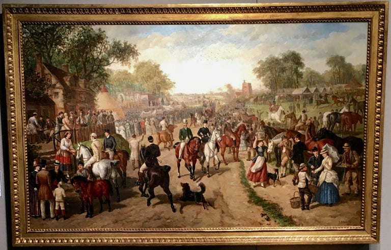 Edward Benjamin Herberte Animal Painting - A Victorian English Horse fair with pub, circus and many figures