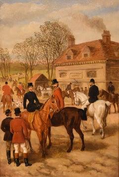"Oil Painting by Edward Benjamin Herberte ""The Meet at Stonebridge"""