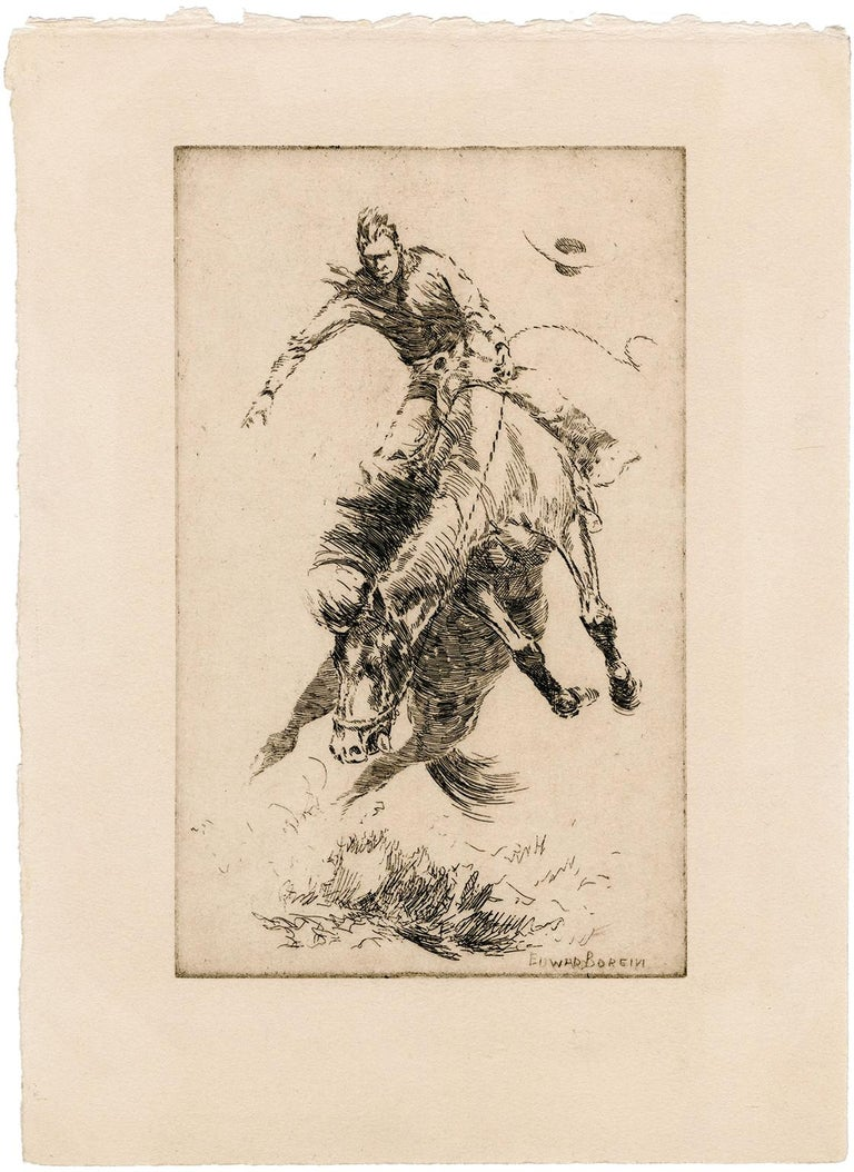 New Bucking Horse - Print by Edward Borein