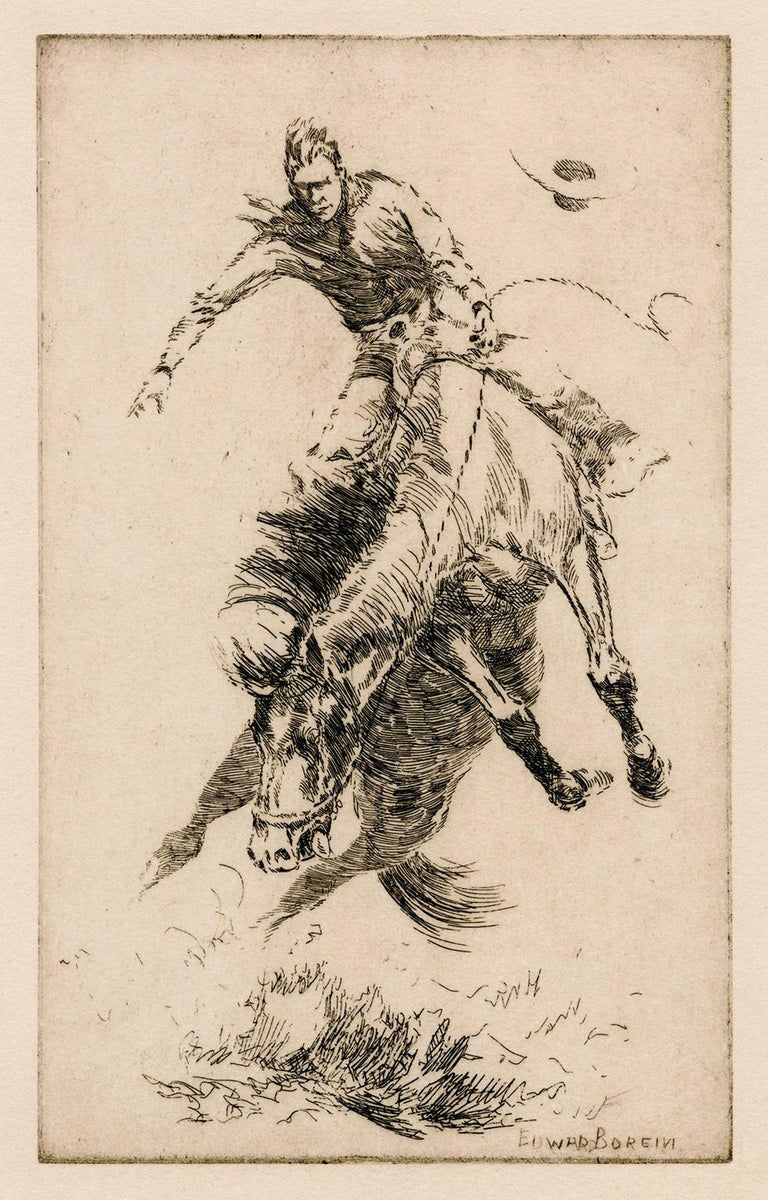 Edward Borein Figurative Print - New Bucking Horse