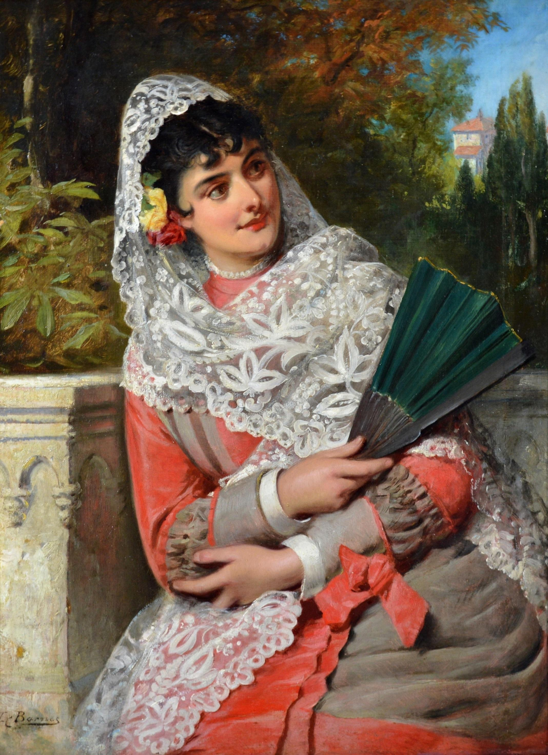 Andalusian Beauty - 19th Century Oil Painting Portrait of Spanish Girl
