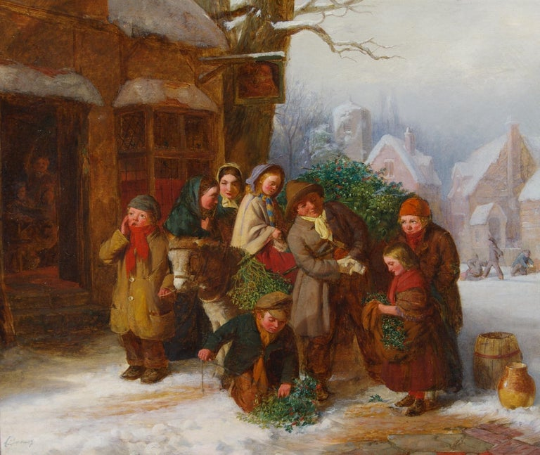 Edward Charles Barnes Figurative Painting - The Holly Cart