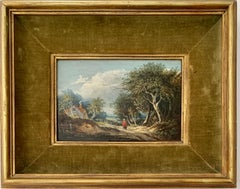Early Victorian English cottage landscape with a figure with, oak, willow trees