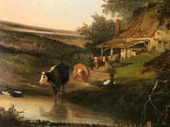 The Farm Pond A 19th Century English Landscape with Cattle