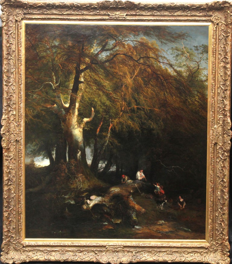 The Woodman's Family in a Landscape - British 1869 Victorian art oil painting For Sale 9