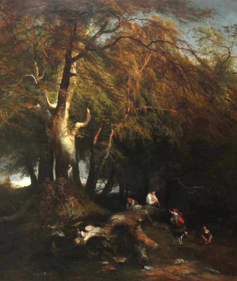 The Woodman's Family in a Landscape - British 1869 Victorian art oil painting - Painting by Edward Charles Williams
