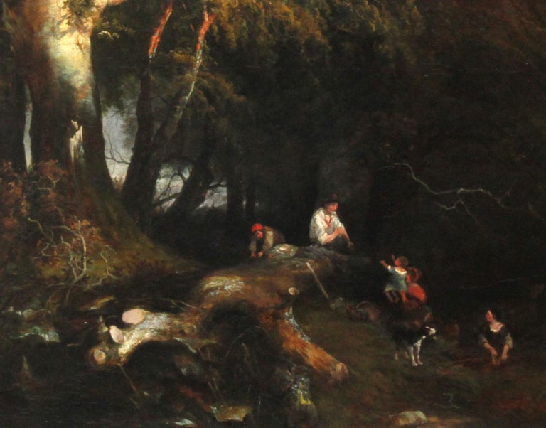 The Woodman's Family in a Landscape - British 1869 Victorian art oil painting For Sale 1