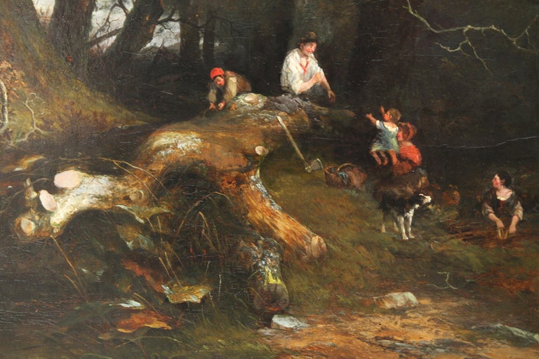 The Woodman's Family in a Landscape - British 1869 Victorian art oil painting For Sale 3