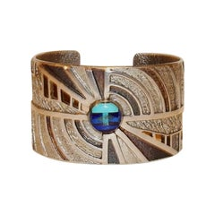 Edward Charlie Navajo Jeweler, Sterling Bracelet with Lapis and Turquoise