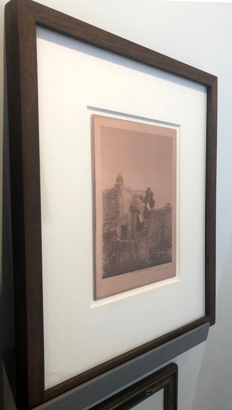 Edward Curtis, On A Walpi Housetop, c. 1922, original copper plate, Volume 12 - Brown Landscape Photograph by Edward Curtis