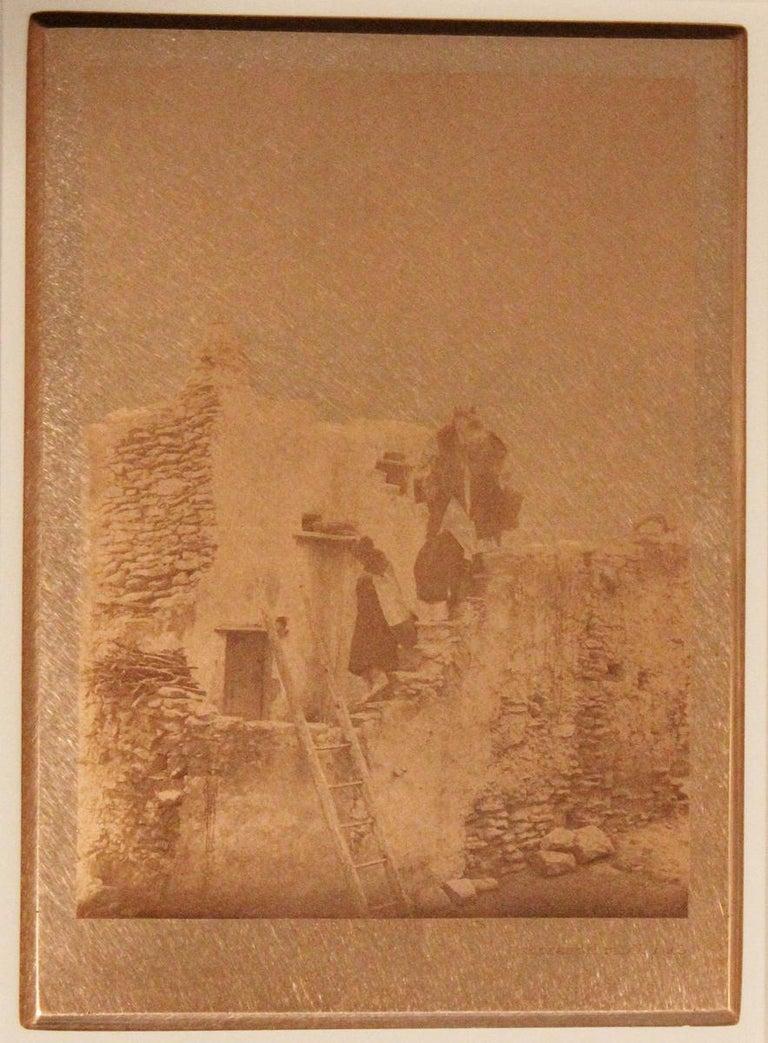 Edward Curtis. On A Walpi Housetop, c. 1922, Original copper plate, Volume 12. Image Size: 8.25 x 6.75