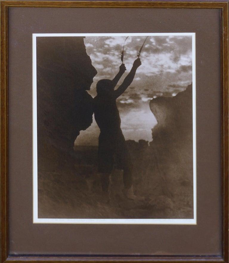 Edward Curtis Figurative Print - Native American War Chief -- Offering To The Sun: San Ildefonso