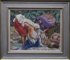 Wash Day - India - British 50's art Post Impressionist portrait oil painting