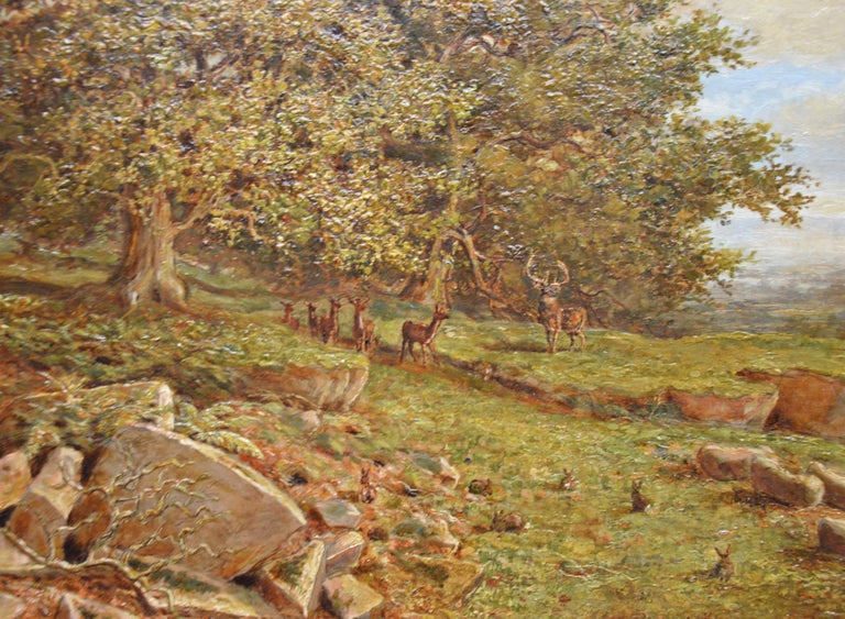 Bradgate Park, Leicestershire - 19th Century Oil Painting - Royal Academy 1880 For Sale 4