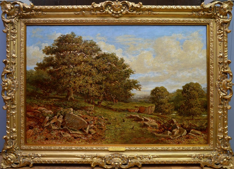 Edward Davies Landscape Painting - Bradgate Park, Leicestershire - 19th Century Oil Painting - Royal Academy 1880