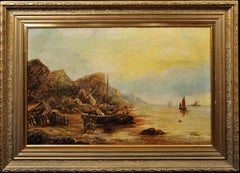Beach and rocks at Upgang, near Whitby. Original Oil Painting. Landscape. 1876.