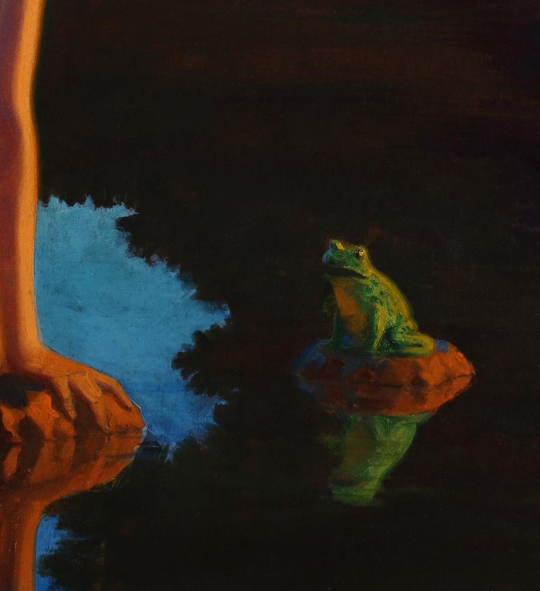 Nymph and the Frog - Black Figurative Painting by Edward Eggleston