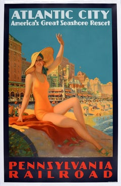 Original Vintage Art Deco Poster Pennsylvania Railroad Atlantic City Resort