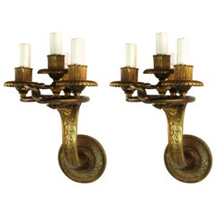 Edward F. Caldwell & Co. American Neoclassical Revival Gilt Bronze Sconces