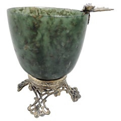 Edward Farmer Chinese-Style Green Hardstone and Silver Gilt Bowl