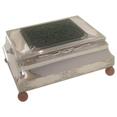 Edward Farmer Large Sterling Silver and Jade Table Box