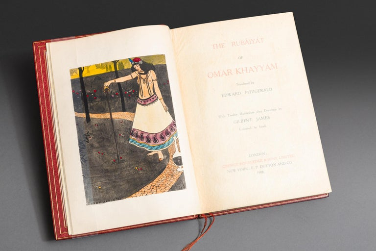1 Volume. Edward Fitzgerald. The Rubaiyat Of Omar Khayyam. With twelve illustrations after drawings by Gilbert James colored by hand. Exquisitely bound in full red morocco with silk doublers by Bayntun, all edges gilt, raised bands, ornate onlays of