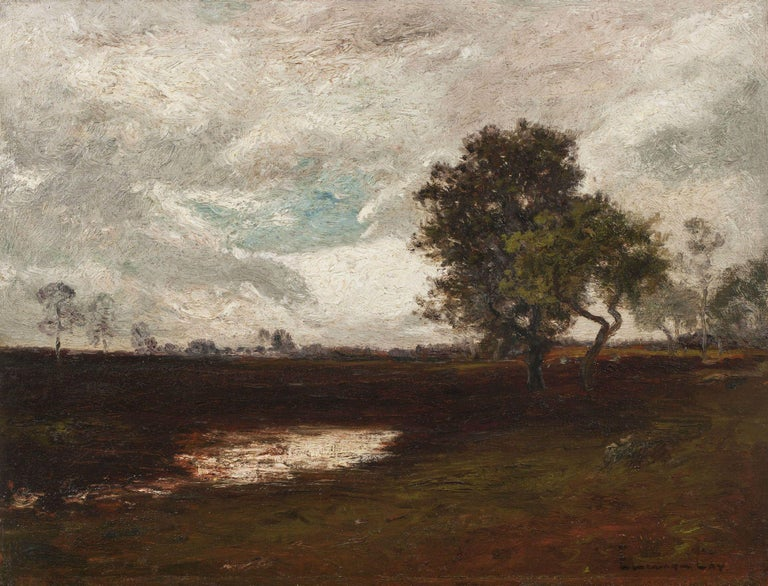 Edward Gay (1837-1928) After a Storm Oil on panel 13 ½ x 17 ½ inches Signed lower right  EDWARD GAY (1837-1928)   Born near Mullinger, County Westmeath, Ireland, Edward Gay was a highly successful landscape painter. At the age of eleven, during the