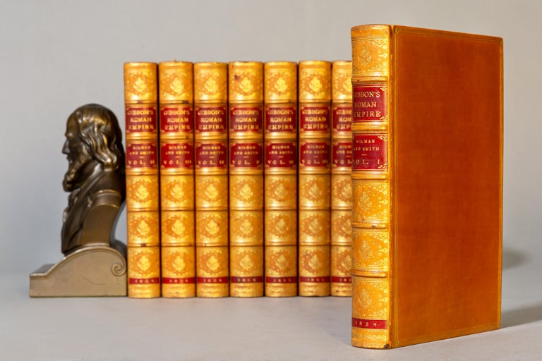 8 volumes.   Edward Gibbon. The History of The Decline and Fall of The Roman Empire. With notes by Dean Milman and M.Guizot. Edited with additional notes by William Smith. With portrait and Maps. Bound in full polished calf by Root and Son, top