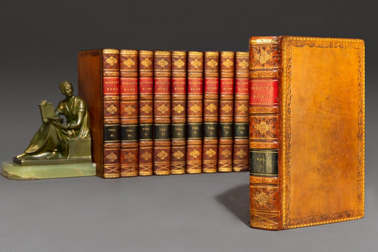 12 Volumes. Edward Gibbon. The History Of The Decline And Fall Of The Roman Empire. Bound In Full Tan Calf, Marbled Edges, Raised Bands, Gilt Panels. Published: London: T. Cadell 1813.