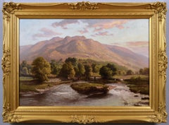 19th Century landscape oil painting of a river isle & bridge